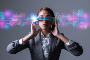Woman with AI glasses