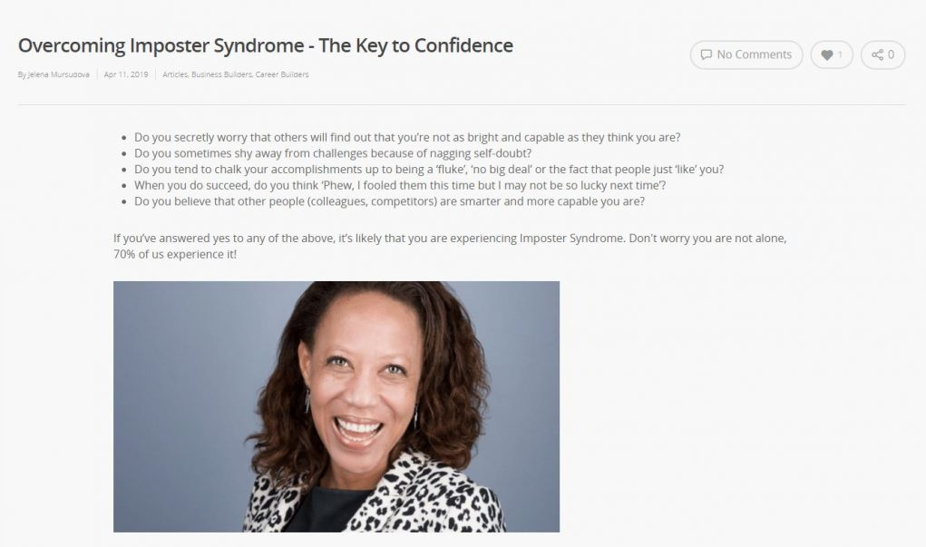 Overcoming Imposter Syndrome - the key to confidence