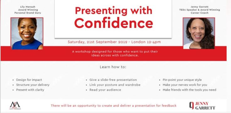 Learn how to present with confidence at Jenny Garrett and Lily Mensah's event